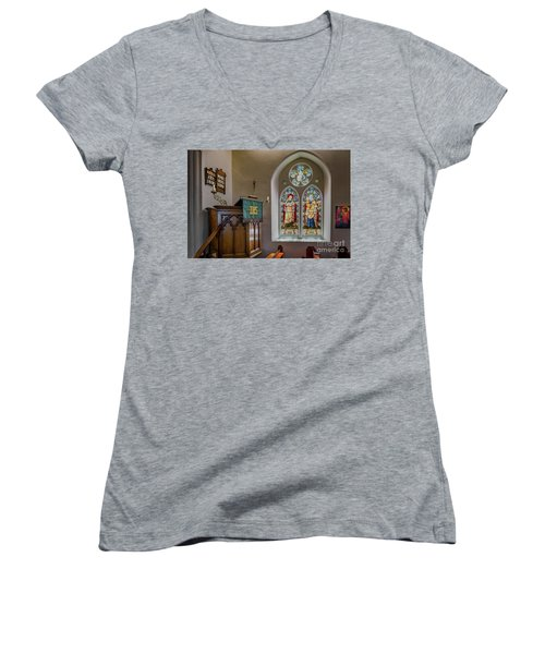 Women's V-Neck T-Shirt (Junior Cut) featuring the photograph Stained Glass Uk by Adrian Evans