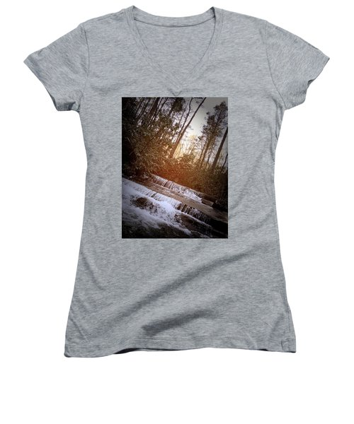 Stair Step Falls Table Rock South Carolina Women's V-Neck T-Shirt (Junior Cut) by Kelly Hazel
