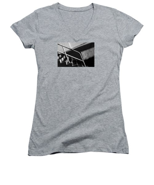 Stair Wall And Shadows Women's V-Neck T-Shirt (Junior Cut) by Catherine Lau
