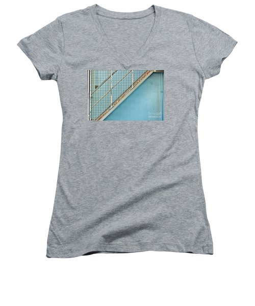 Stairs On Blue Wall Women's V-Neck