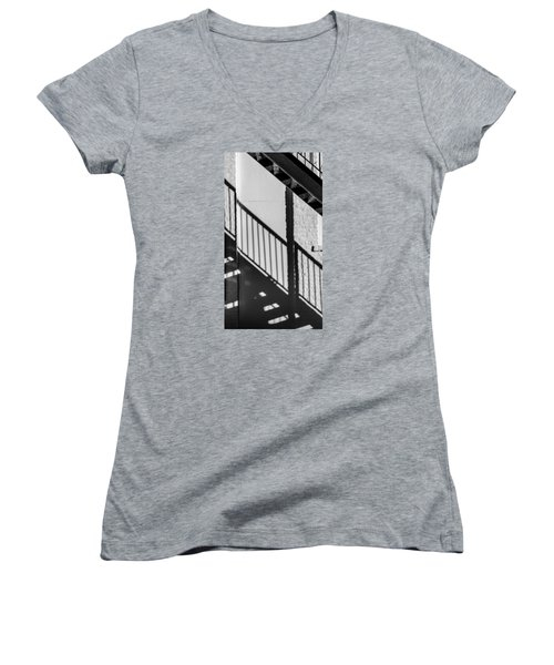 Stairs Railings And Shadows Women's V-Neck T-Shirt (Junior Cut) by Gary Slawsky