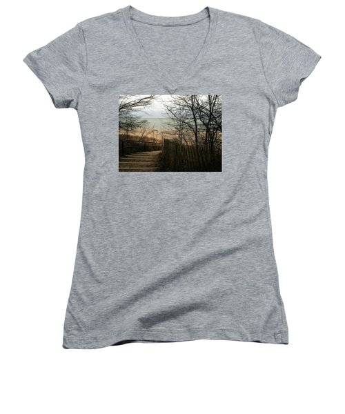 Women's V-Neck T-Shirt featuring the photograph Stairs To The Beach In Winter by Michelle Calkins