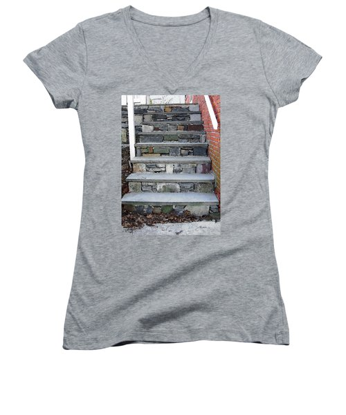 Stairs To The Plague House Women's V-Neck T-Shirt (Junior Cut) by RC DeWinter