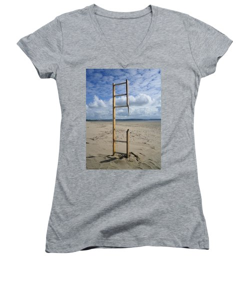 Stairway To Heaven Women's V-Neck T-Shirt (Junior Cut) by Richard Brookes