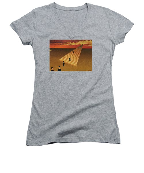 Stairway To Heaven Women's V-Neck T-Shirt (Junior Cut) by Thomas Blood
