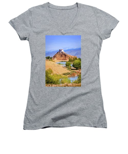 Women's V-Neck T-Shirt (Junior Cut) featuring the photograph Stakna Monastery by Alexey Stiop