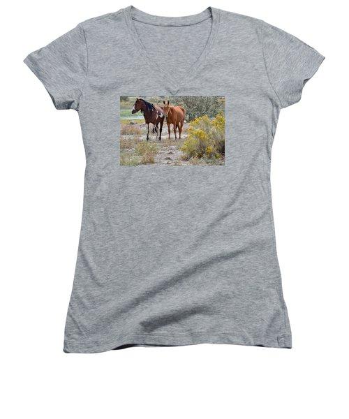 Stallion And Mare Women's V-Neck