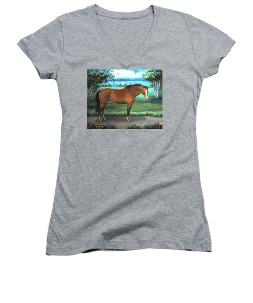 Women's V-Neck T-Shirt (Junior Cut) featuring the painting Stallion Portrait by Dawn Senior-Trask