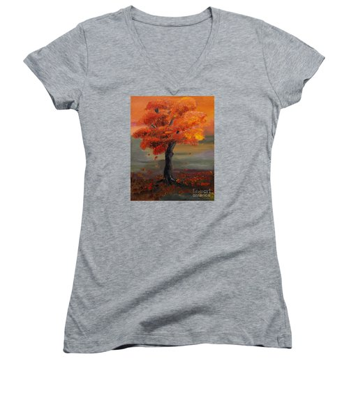 Stand Alone In Color - Autumn - Tree Women's V-Neck T-Shirt (Junior Cut) by Jan Dappen
