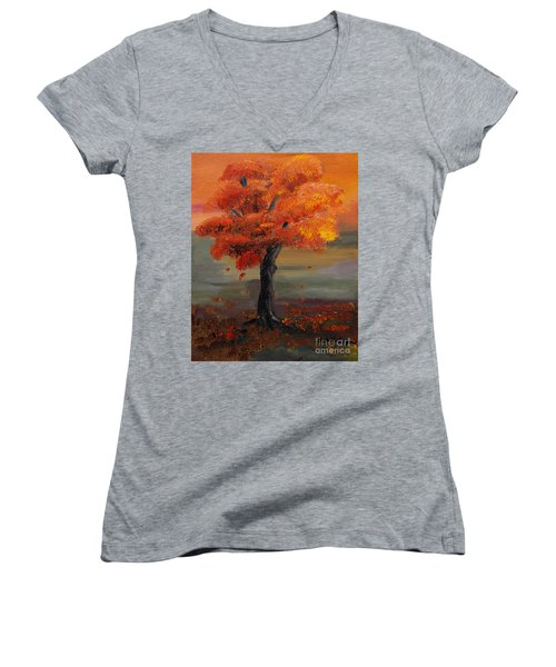 Stand Alone In Color - Autumn - Tree Women's V-Neck