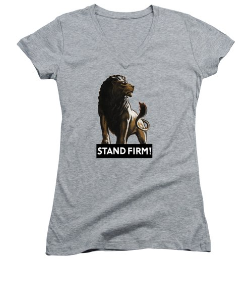 Stand Firm Lion - Ww2 Women's V-Neck (Athletic Fit)