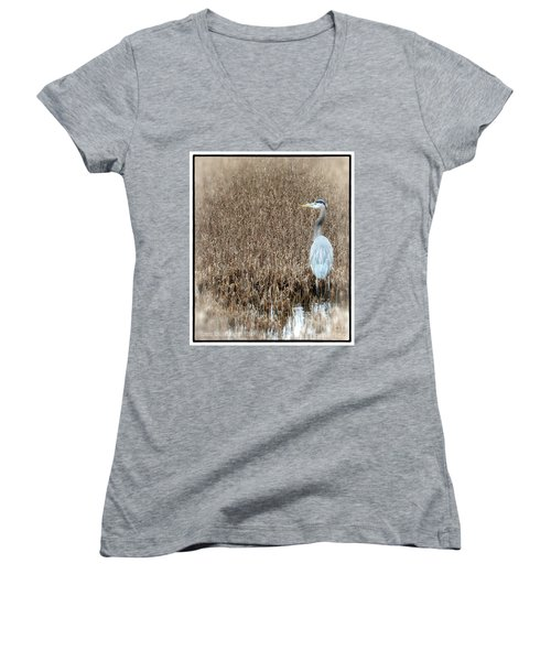 Women's V-Neck T-Shirt (Junior Cut) featuring the photograph Standing Alone by Tamera James