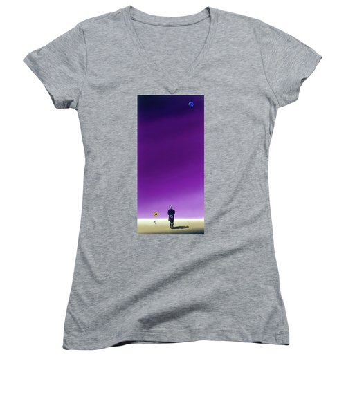 Standing Alone Waiting For The Bowling Balls To Fall When Night Comes Women's V-Neck