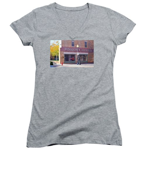 Women's V-Neck featuring the photograph Standing On The Corner by AJ Schibig
