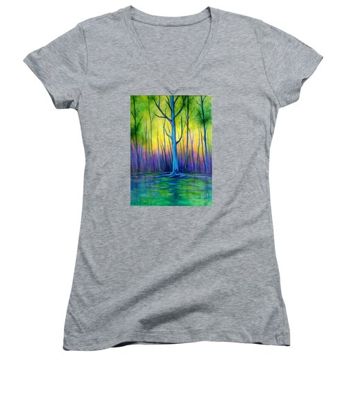 Women's V-Neck T-Shirt (Junior Cut) featuring the painting Standing Tall  by Alison Caltrider