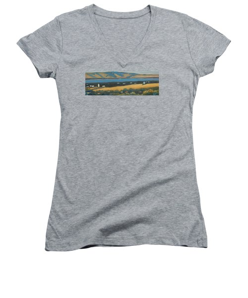 Women's V-Neck T-Shirt (Junior Cut) featuring the painting Stanford By The Bay by Gary Coleman
