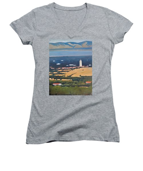 Women's V-Neck T-Shirt (Junior Cut) featuring the painting Stanford From Hills by Gary Coleman