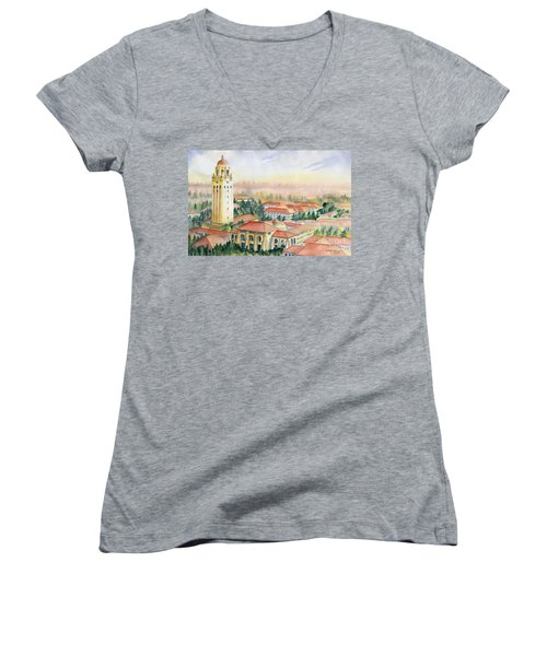 Stanford University California Women's V-Neck T-Shirt (Junior Cut) by Melly Terpening