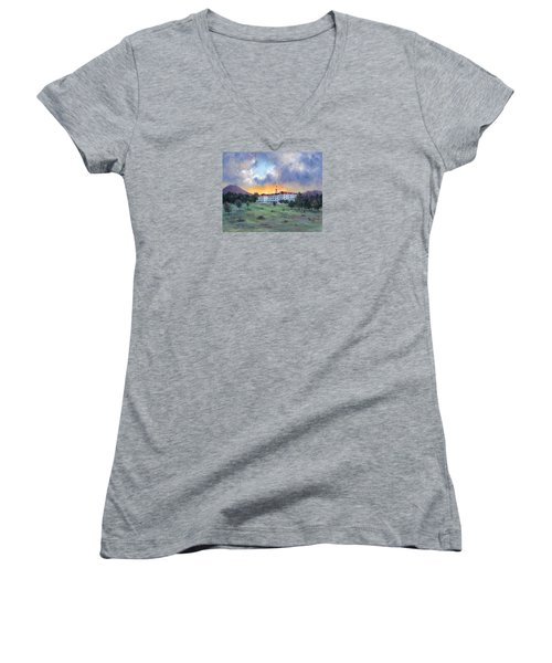 Stanley Hotel Sunset Women's V-Neck T-Shirt (Junior Cut) by Jill Musser
