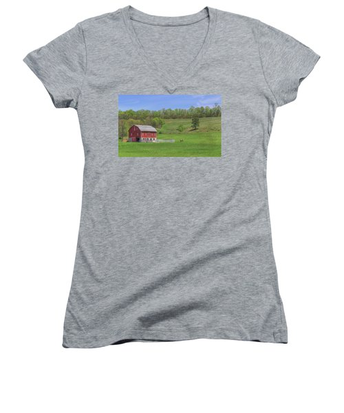Women's V-Neck T-Shirt (Junior Cut) featuring the digital art Star And Moon Barn by Sharon Batdorf