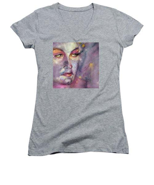 Star Gazer Women's V-Neck T-Shirt (Junior Cut) by Judith Levins