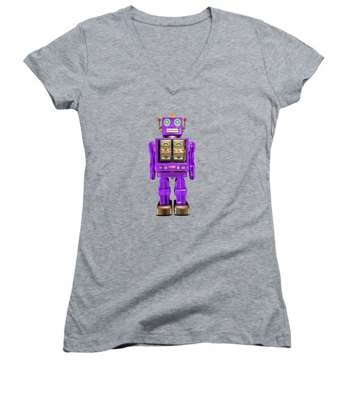 Women's V-Neck T-Shirt (Junior Cut) featuring the photograph Star Strider Robot Purple On Black by YoPedro