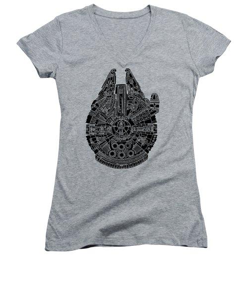 Star Wars Art - Millennium Falcon - Black Women's V-Neck T-Shirt (Junior Cut) by Studio Grafiikka