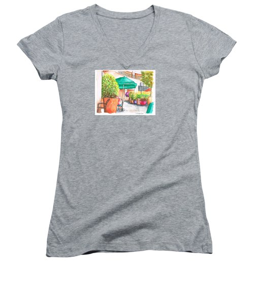 Starbucks Coffee, Sunset Blvd, And Cresent High, West Hollywood, Ca Women's V-Neck T-Shirt (Junior Cut) by Carlos G Groppa
