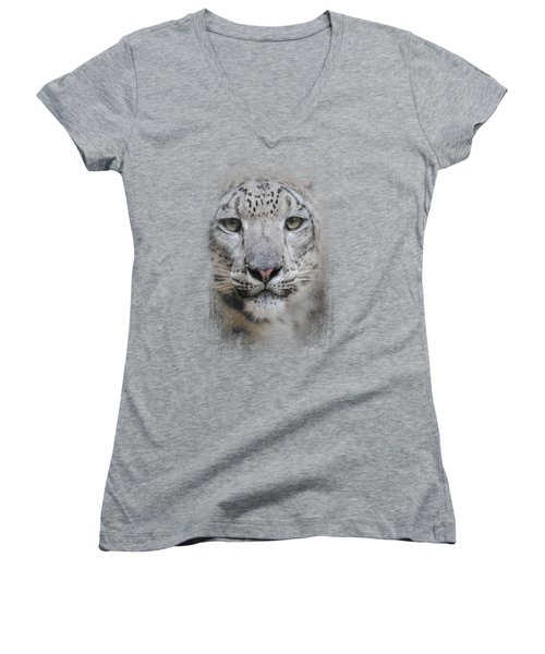 Stare Of The Snow Leopard Women's V-Neck T-Shirt (Junior Cut) by Jai Johnson