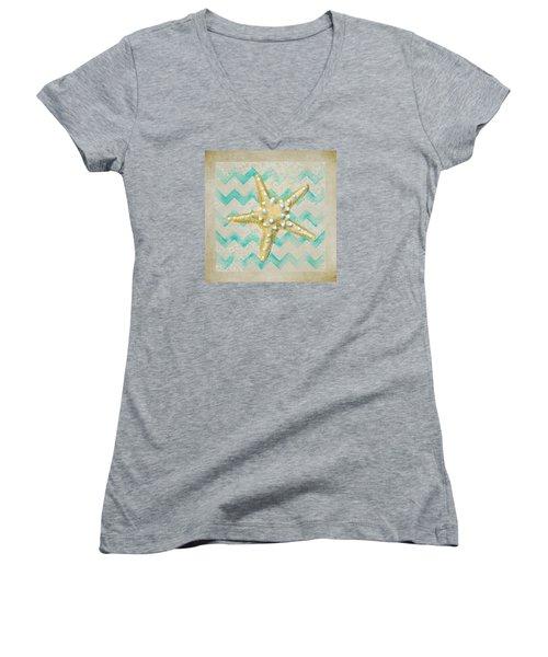 Starfish In Modern Waves Women's V-Neck T-Shirt (Junior Cut) by Sandi OReilly