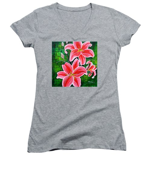 Stargazer Lilies Bold And Vibrant Floral Painting On Canvas Women's V-Neck (Athletic Fit)