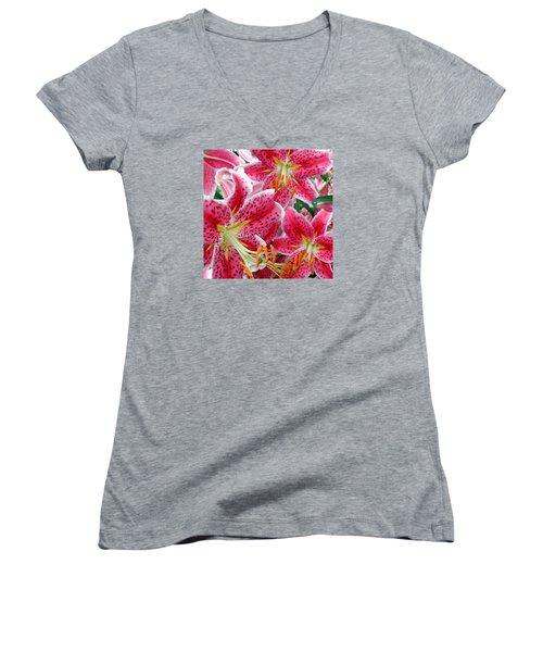 Stargazer Lilies Women's V-Neck T-Shirt