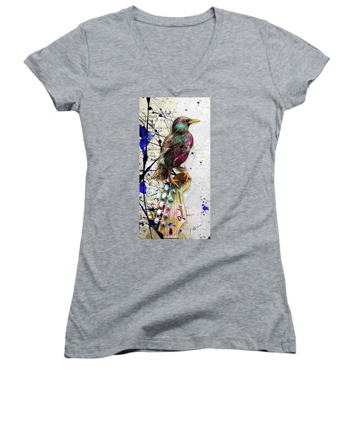 Starling On A Strat Women's V-Neck T-Shirt (Junior Cut) by Gary Bodnar