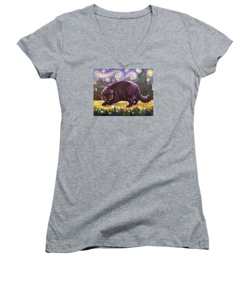 Women's V-Neck T-Shirt (Junior Cut) featuring the painting Starry Night Stroll by Laura Aceto