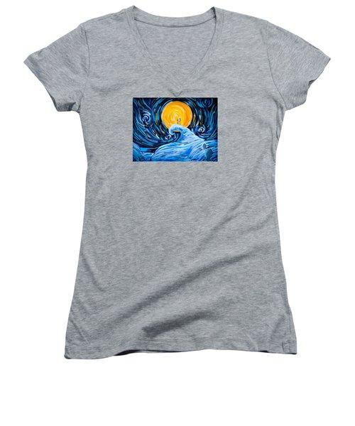 Starry Spiral Hill Night Women's V-Neck T-Shirt (Junior Cut) by Marisela Mungia