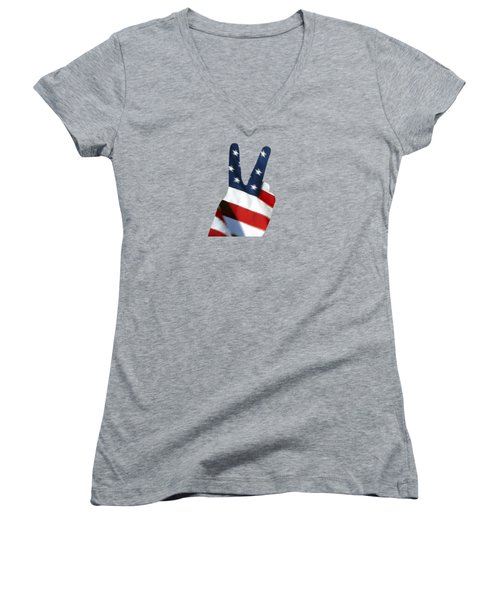 Women's V-Neck T-Shirt (Junior Cut) featuring the photograph Stars And Stripes Peace Sign .png by Al Powell Photography USA