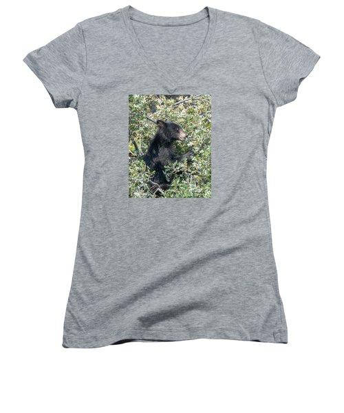 Startled Black Bear Cub Women's V-Neck T-Shirt (Junior Cut) by Stephen  Johnson