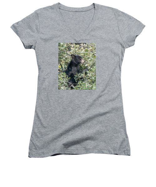 Startled Black Bear Cub Women's V-Neck T-Shirt