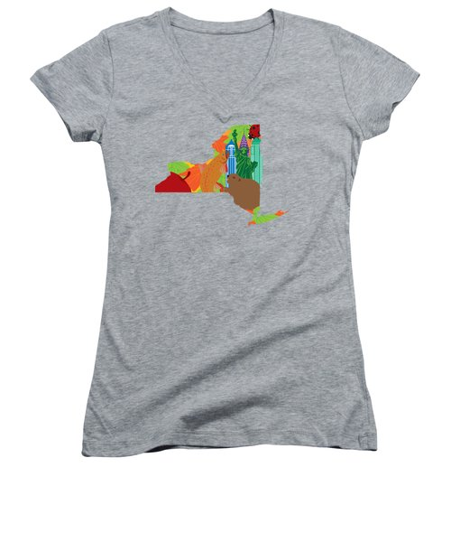 State Of New York Official Map Symbols Women's V-Neck T-Shirt (Junior Cut) by Jit Lim