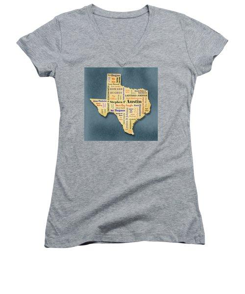 States - Famous Texas Women's V-Neck T-Shirt (Junior Cut) by Ron Grafe
