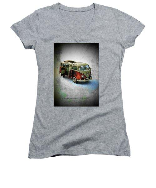 Station Wagon Women's V-Neck T-Shirt (Junior Cut) by John Schneider