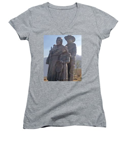 Statuary Dedicated To The American Indian Women's V-Neck T-Shirt (Junior Cut) by Jay Milo