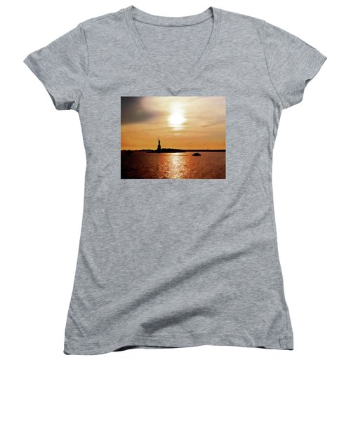 Statue Of Liberty At Sunset Women's V-Neck (Athletic Fit)