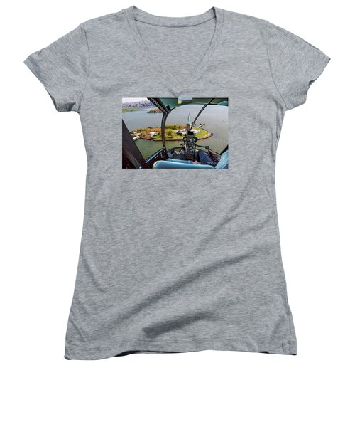 Statue Of Liberty Helicopter Women's V-Neck