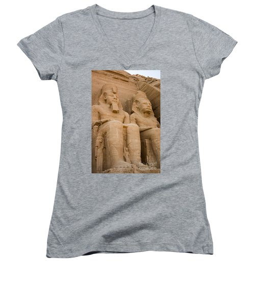 Statues At Abu Simbel Women's V-Neck T-Shirt (Junior Cut) by Darcy Michaelchuk