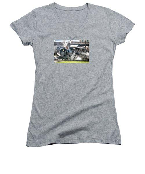 Steam Engine #30 Women's V-Neck T-Shirt (Junior Cut) by Scott Hansen