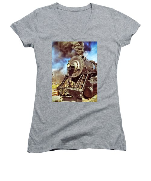 Steam Engine Women's V-Neck (Athletic Fit)