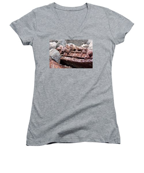 Steam Shovel Number Four Women's V-Neck T-Shirt (Junior Cut) by Kandy Hurley