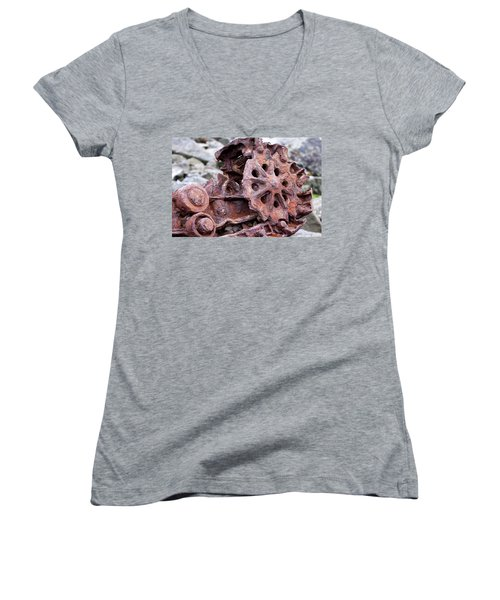 Steam Shovel Number Two Women's V-Neck T-Shirt (Junior Cut) by Kandy Hurley