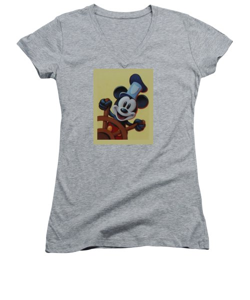 Steamboat Willy Women's V-Neck T-Shirt (Junior Cut) by Rob Hans
